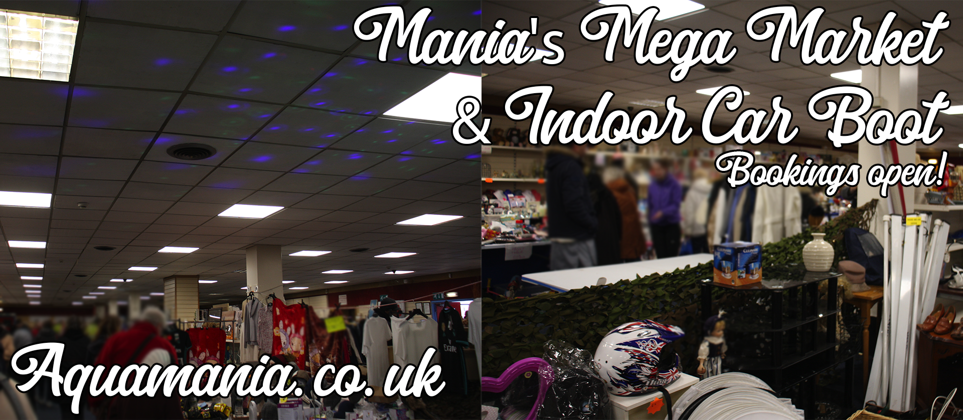 Mania''s mega market indoor car boot sale and market place. The images show a few of the days from March 8th, early morning. Very busy!